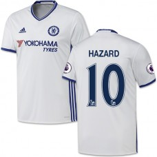 Adult Men's 16/17 Chelsea #10 Eden Hazard Authentic White Third Jersey - 2016/17 Premier League Soccer Shirt