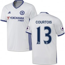 Adult Men's 16/17 Chelsea #13 Thibaut Courtois Authentic White Third Jersey - 2016/17 Premier League Soccer Shirt