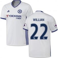 Adult Men's 16/17 Chelsea #22 Willian Authentic White Third Jersey - 2016/17 Premier League Soccer Shirt