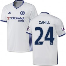 Adult Men's 16/17 Chelsea #24 Gary Cahill Authentic White Third Jersey - 2016/17 Premier League Soccer Shirt