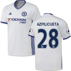 Adult Men's 16/17 Chelsea #28 Cesar Azpilicueta Authentic White Third Jersey - 2016/17 Premier League Soccer Shirt