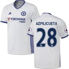 Adult Men's 16/17 Chelsea #28 Cesar Azpilicueta Authentic White Third Jersey - 2016/17 Premier League Soccer Shirt