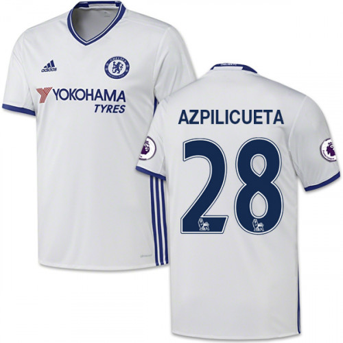 Adult Men s 16 17 Chelsea  28 Cesar Azpilicueta White Third Replica Jersey  - 2016 ... bd9b68869