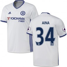 Adult Men's 16/17 Chelsea #34 Ola Aina Authentic White Third Jersey - 2016/17 Premier League Soccer Shirt