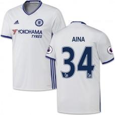 Adult Men's 16/17 Chelsea #34 Ola Aina Authentic White Third Jersey - 2016/17 Premier League Soccer Shirt