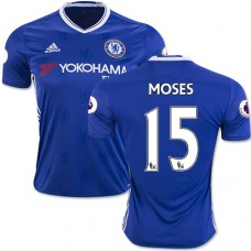 Adult Men's 16/17 Chelsea #15 Victor Moses Blue Home Replica Jersey - 2016/17 Premier League Soccer Shirt