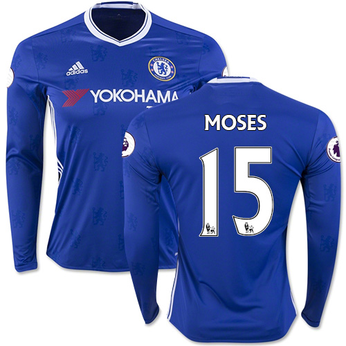 c2106bf40 Adult Men s 16 17 Chelsea  15 Victor Moses Blue Home Long Sleeve Replica  Jersey ...