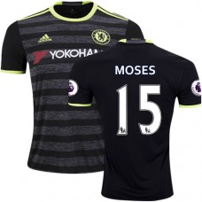Adult Men's 16/17 Chelsea #15 Victor Moses Authentic Black Away Jersey - 2016/17 Premier League Soccer Shirt