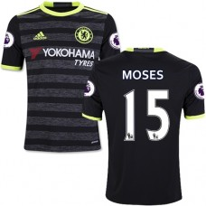 Kid's 16/17 Chelsea #15 Victor Moses Authentic Black Away Jersey - 2016/17 Premier League Soccer Shirt