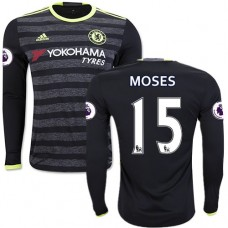 Adult Men's 16/17 Chelsea #15 Victor Moses Black Away Long Sleeve Replica Jersey - 2016/17 Premier League Soccer Shirt
