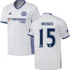 Adult Men's 16/17 Chelsea #15 Victor Moses White Third Replica Jersey - 2016/17 Premier League Soccer Shirt