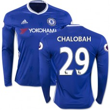 Adult Men's 16/17 Chelsea #29 Nathaniel Chalobah Blue Home Long Sleeve Replica Jersey - 2016/17 Premier League Soccer Shirt