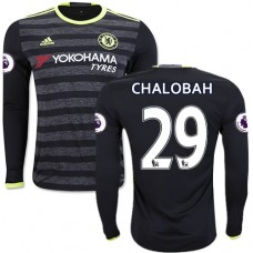 Adult Men's 16/17 Chelsea #29 Nathaniel Chalobah Black Away Long Sleeve Replica Jersey - 2016/17 Premier League Soccer Shirt
