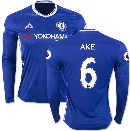 Adult Men's 16/17 Chelsea Nathan Ake Blue Home Long Sleeve Replica Jersey - 2016/17 Premier League Soccer Shirt