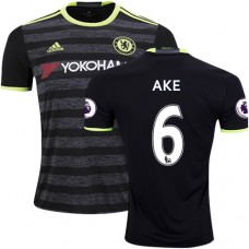 Adult Men's 16/17 Chelsea Nathan Ake Authentic Black Away Jersey - 2016/17 Premier League Soccer Shirt