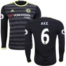 Adult Men's 16/17 Chelsea Nathan Ake Authentic Black Away Long Sleeve Jersey - 2016/17 Premier League Soccer Shirt