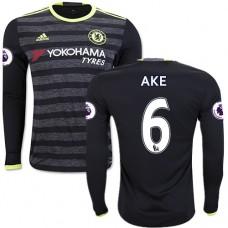 Adult Men's 16/17 Chelsea Nathan Ake Black Away Long Sleeve Replica Jersey - 2016/17 Premier League Soccer Shirt