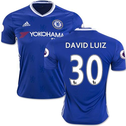 Adult Men's 16/17 Chelsea David Luiz Blue Home Replica Jersey - 2016/17 Premier League Soccer Shirt