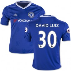 Kid's 16/17 Chelsea David Luiz Authentic Blue Home Jersey - 2016/17 Premier League Soccer Shirt