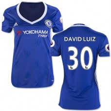 Women's 16/17 Chelsea David Luiz Blue Home Replica Jersey - 2016/17 Premier League Soccer Shirt
