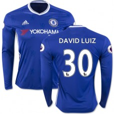 Adult Men's 16/17 Chelsea David Luiz Authentic Blue Home Long Sleeve Jersey - 2016/17 Premier League Soccer Shirt