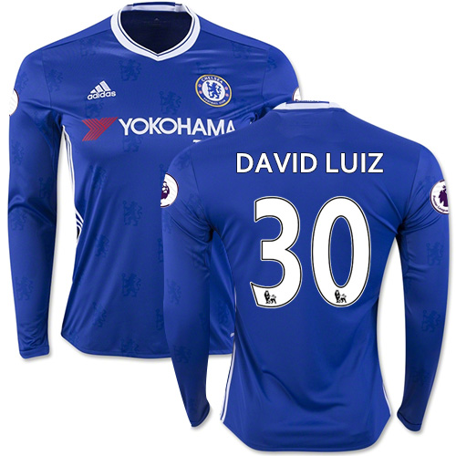 Adult Men's 16/17 Chelsea David Luiz Blue Home Long Sleeve Replica Jersey - 2016/17 Premier League Soccer Shirt
