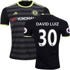 Adult Men's 16/17 Chelsea David Luiz Authentic Black Away Jersey - 2016/17 Premier League Soccer Shirt