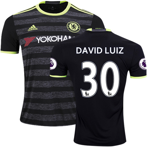 Adult Men's 16/17 Chelsea David Luiz Black Away Replica Jersey - 2016/17 Premier League Soccer Shirt