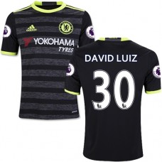 Kid's 16/17 Chelsea David Luiz Authentic Black Away Jersey - 2016/17 Premier League Soccer Shirt