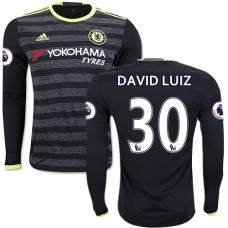 Adult Men's 16/17 Chelsea David Luiz Authentic Black Away Long Sleeve Jersey - 2016/17 Premier League Soccer Shirt