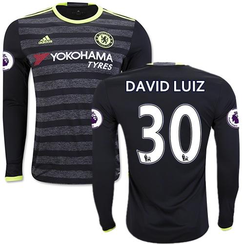 Adult Men's 16/17 Chelsea David Luiz Black Away Long Sleeve Replica Jersey - 2016/17 Premier League Soccer Shirt