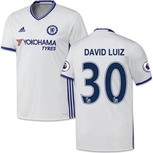 Adult Men's 16/17 Chelsea David Luiz Authentic White Third Jersey - 2016/17 Premier League Soccer Shirt