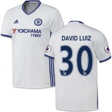 Adult Men's 16/17 Chelsea David Luiz White Third Replica Jersey - 2016/17 Premier League Soccer Shirt