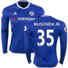 Adult Men's 16/17 Chelsea Charly Musonda Blue Home Long Sleeve Replica Jersey - 2016/17 Premier League Soccer Shirt