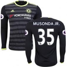 Adult Men's 16/17 Chelsea Charly Musonda Authentic Black Away Long Sleeve Jersey - 2016/17 Premier League Soccer Shirt