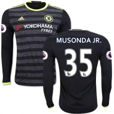 Adult Men's 16/17 Chelsea Charly Musonda Black Away Long Sleeve Replica Jersey - 2016/17 Premier League Soccer Shirt