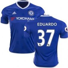 Adult Men's 16/17 Chelsea Eduardo Authentic Blue Home Jersey - 2016/17 Premier League Soccer Shirt
