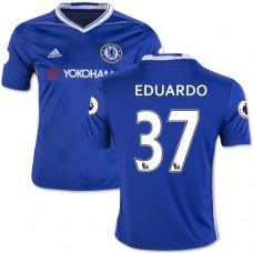 Kid's 16/17 Chelsea Eduardo Authentic Blue Home Jersey - 2016/17 Premier League Soccer Shirt