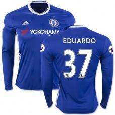 Adult Men's 16/17 Chelsea Eduardo Authentic Blue Home Long Sleeve Jersey - 2016/17 Premier League Soccer Shirt