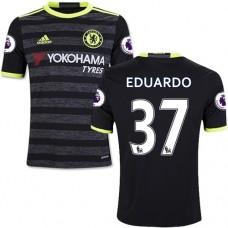 Kid's 16/17 Chelsea Eduardo Authentic Black Away Jersey - 2016/17 Premier League Soccer Shirt