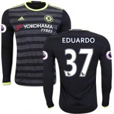 Adult Men's 16/17 Chelsea Eduardo Authentic Black Away Long Sleeve Jersey - 2016/17 Premier League Soccer Shirt