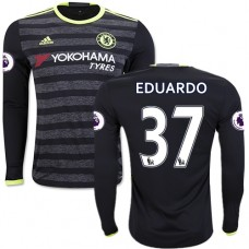 Adult Men's 16/17 Chelsea Eduardo Black Away Long Sleeve Replica Jersey - 2016/17 Premier League Soccer Shirt