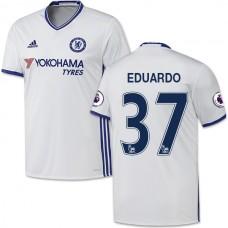 Adult Men's 16/17 Chelsea Eduardo Authentic White Third Jersey - 2016/17 Premier League Soccer Shirt