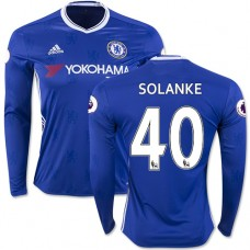 Adult Men's 16/17 Chelsea Dominic Solanke Authentic Blue Home Long Sleeve Jersey - 2016/17 Premier League Soccer Shirt