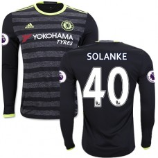 Adult Men's 16/17 Chelsea Dominic Solanke Black Away Long Sleeve Replica Jersey - 2016/17 Premier League Soccer Shirt